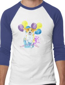 Dog and balloons Men's Baseball ¾ T-Shirt