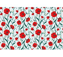 Seamless Flower  Poppies and Roses  Pattern Photographic Print