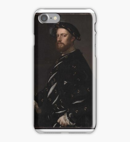 Portrait of a Man Holding a Book about , Titian iPhone Case/Skin