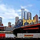 Pittsburgh PA - Train By Smithfield St Bridge by Susan Savad