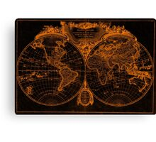 World Map (1775) Orange & Black Canvas Print