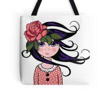 Big-Eyed Girl with ROSE, Whimsical Art, Surreal Art Tote Bag