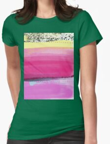 Watercolor Abstract Layers Version1 Pink Vivid Womens Fitted T-Shirt