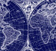 World Map (1775) Blue & White  Sticker