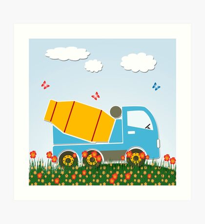 Cement mixer truck Art Print