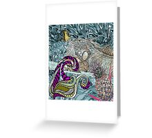 blue iguana lizard with butterfly Greeting Card