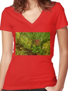 Impressions of Gardens - a Miniature Spring Creek with a Red Primrose  Women's Fitted V-Neck T-Shirt