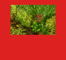 Impressions of Gardens - a Miniature Spring Creek with a Red Primrose  Womens Fitted T-Shirt