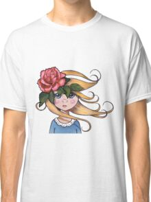 Big-Eyed Girl with ROSE, No. 2, Whimsical Art, Surreal Art Classic T-Shirt