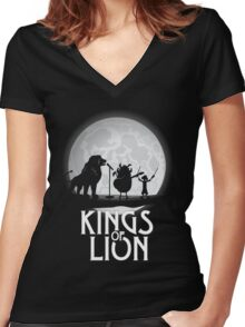 Kings of Lion Women's Fitted V-Neck T-Shirt