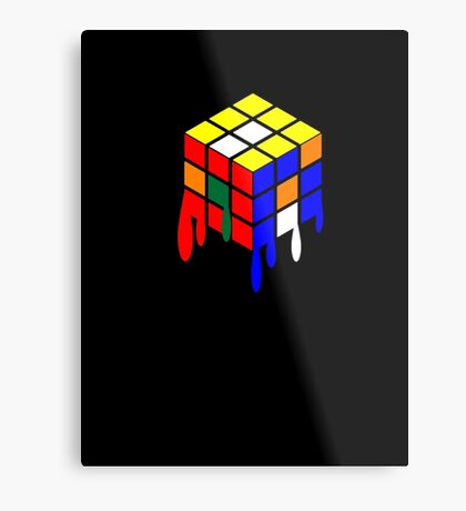 Dripping Cube Metal Print