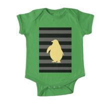 Yellow Penguin and black stripes One Piece - Short Sleeve