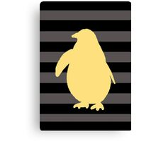 Yellow Penguin and black stripes Canvas Print