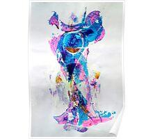 Mermaid in Space, SpaceMermaid - Original Wall Modern Abstract Art Painting Poster