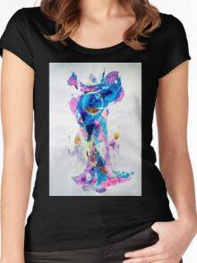 Mermaid in Space, SpaceMermaid - Original Wall Modern Abstract Art Painting Women's Fitted Scoop T-Shirt