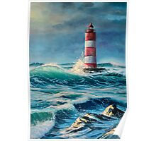 Lighthouse in the stormy sea Poster