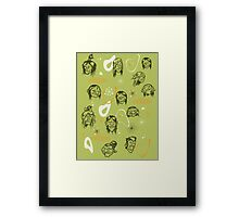 Shrunken Heads Retro Pattern Framed Print