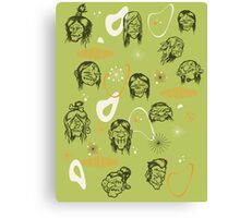 Shrunken Heads Retro Pattern Canvas Print