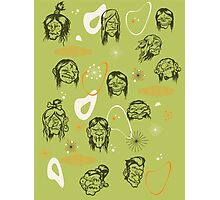 Shrunken Heads Retro Pattern Photographic Print