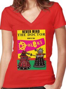 The Punk Daleks  Women's Fitted V-Neck T-Shirt