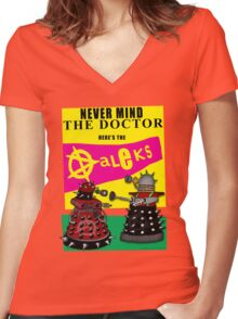 The Punk Daleks  Women's Fitted V-Neck T-Shirt