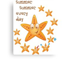 Cute funny sea star among little ones Canvas Print
