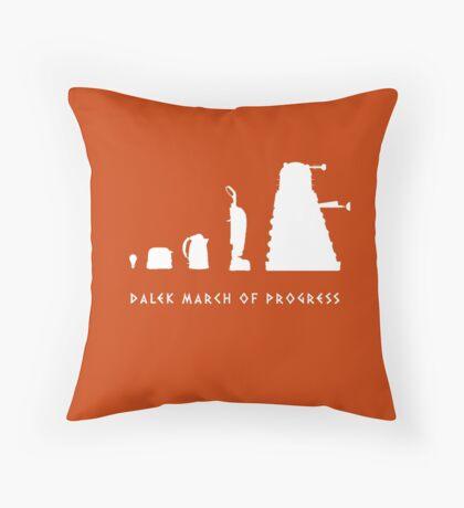 Dalek March of Progress White Throw Pillow