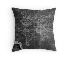 World Map (1778) Black & White  Throw Pillow