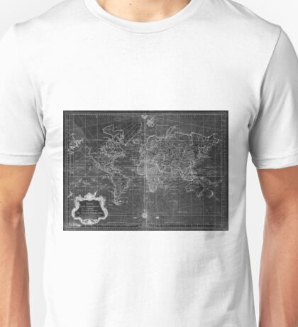 World Map (1778) Black & White  Unisex T-Shirt