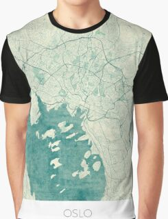 Oslo Map Blue Vintage Graphic T-Shirt