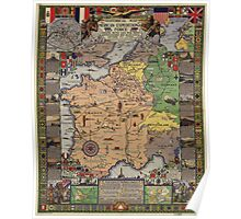 American Expeditionary Force World War I Map Poster