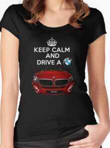 Keep Calm and Drive a BMW Women's Fitted Scoop T-Shirt