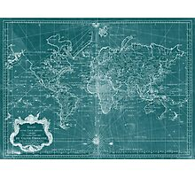 World Map (1778) Turquoise & White  Photographic Print