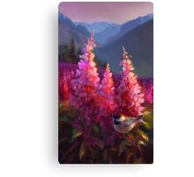 Chickadee and Fireweed Mountain Landscape Painting Canvas Print