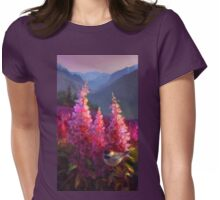 Chickadee and Fireweed Mountain Landscape Painting Womens Fitted T-Shirt