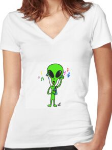 Little Greenie the Alien Discovers MP3 Music! Women's Fitted V-Neck T-Shirt