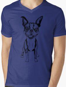 black and white Smiling dog Boston Terrier  Mens V-Neck T-Shirt