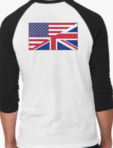 ANGLO AMERICAN FLAG, USA, America, Great Britain, Union Jack, Stars & Stripes Men's Baseball ¾ T-Shirt