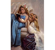 Victorian Era Portrait of two girls reading a book Photographic Print