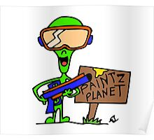 Little Greenie the Alien Discovers Paintball! Poster