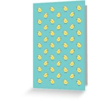 Busy Chicks - Aqua Greeting Card