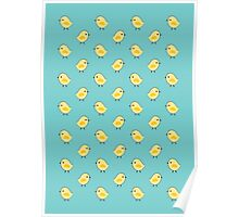 Busy Chicks - Aqua Poster