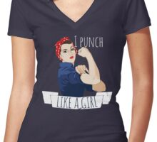 I punch like a girl Women's Fitted V-Neck T-Shirt