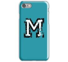 Letter M (Distressed) two-color black/white character iPhone Case/Skin