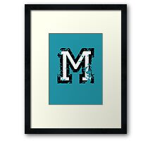 Letter M (Distressed) two-color black/white character Framed Print