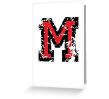 Letter M (Distressed) two-color black/red character Greeting Card