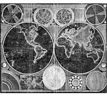 World Map (1794) Black & White  Photographic Print