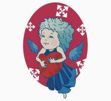 Cute angel with red heart Kids Tee