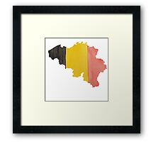 Belgium Country Outline in National Flag Belgian Tricolore Black, Yellow and Red Framed Print