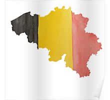 Belgium Country Outline in National Flag Belgian Tricolore Black, Yellow and Red Poster